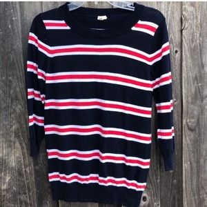 J. CREW Navy Red White Striped Cotton Sweater S